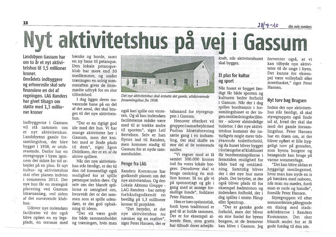 Nyt aktivitetshus på vej i Gassum – juli 2010